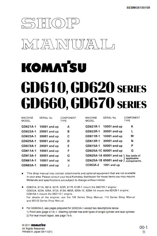 Komatsu Gd661, Gd663, Gd672  Motor Grader Service Manual