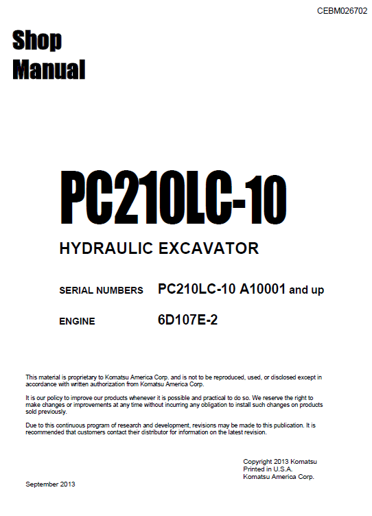 Komatsu Pc210lc-10 Excavator Service Manual