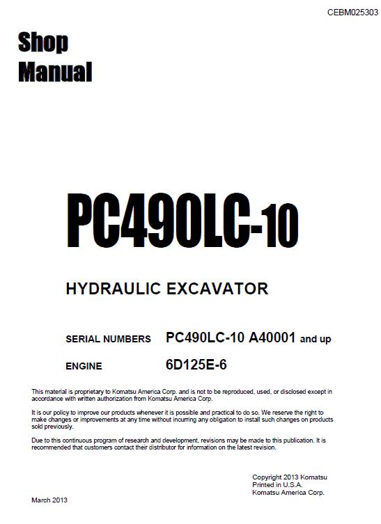 Komatsu Pc490lc-10 Excavator Service Manual
