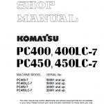 Komatsu Pc400-7, Pc400lc-7, Pc450-7, Pc450lc-7 Excavator Manual