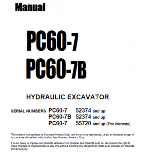 Komatsu Pc60-7 And Pc60-7b Excavator Service Manual