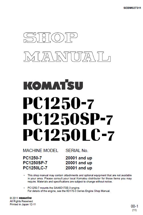 Komatsu Pc1250-7, Pc1250sp-7, Pc120lc-7 Excavator Service Manual
