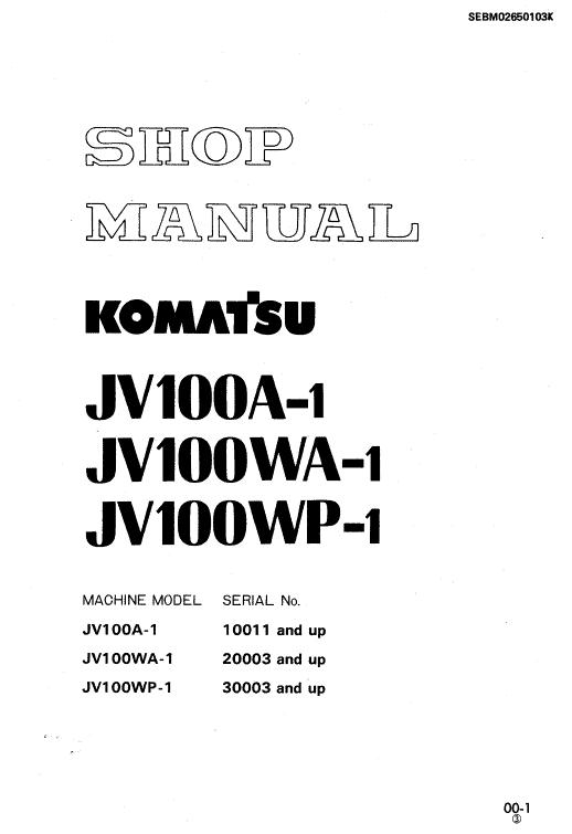 Komatsu Jv100a-1, Jv100wa-1, Jv100wp-1 Drum Rollers Manual