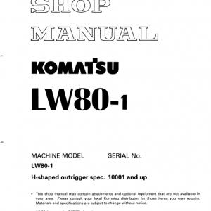 Komatsu Lw80 Crane Service Manual