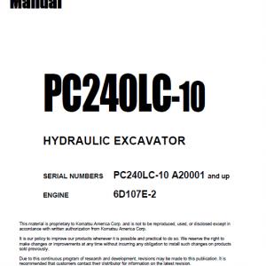 Komatsu Pc240lc-10 Excavator Service Manual