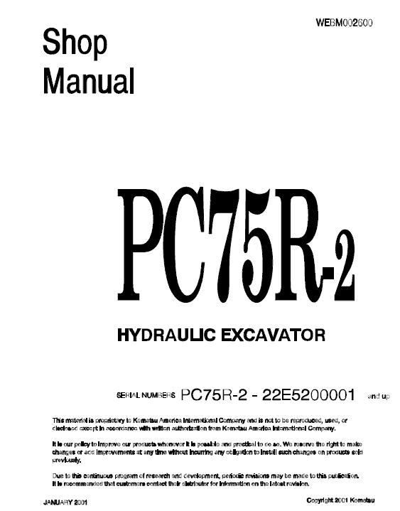 Komatsu Pc75r-2 Excavator Service Manual