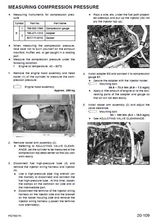 Komatsu Pc750se-7k, Pc750lc-7k Excavator Service Manual