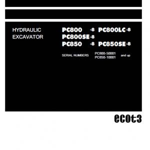 Komatsu Pc800-8, Pc800lc-8, Pc850-8, Pc850lc-8 Excavator Manual