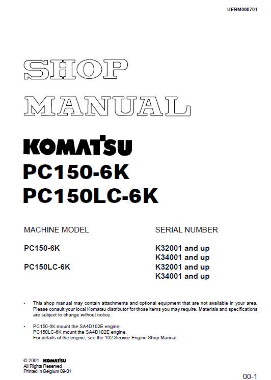 Komatsu Pc150-6k, Pc150lc-6k Excavator Service Manual