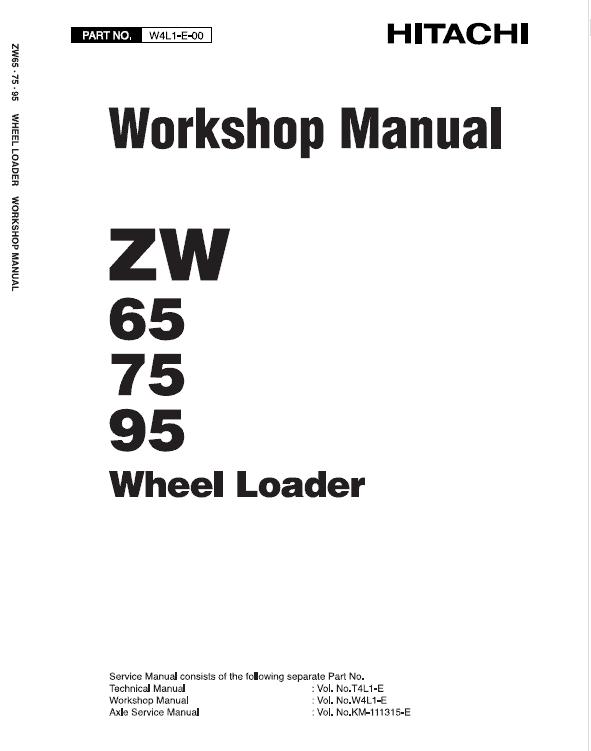 Hitachi Zw65, Zw75, Zw95 Wheel Loader Service Manual