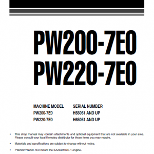 Komatsu Pw200-7 And Pw220-7 Excavator Service Manual