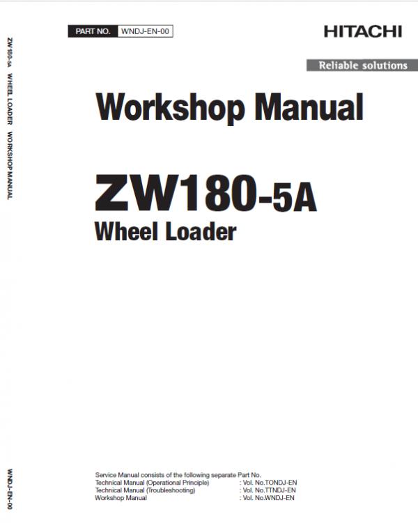 Hitachi Zw180-5a, Zw180-5b Wheel Loader Service Manual