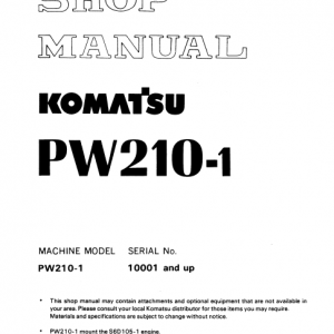 Komatsu Pw210-1 Excavator Service Manual