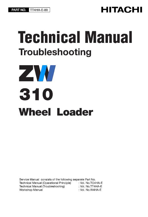 Hitachi Zw310 Wheel Loader Service Manual