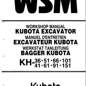 Kubota Kh36, Kh41, Kh51, Kh61 Excavator Workshop Manual