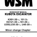 Kubota Kx91-3s, Kx101-3, Kx121-3s, Kx161-3s Excavator Manual