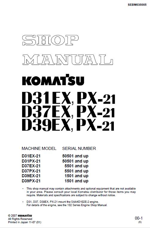 Komatsu D39ex-21, D39px-21 Dozer Service Manual