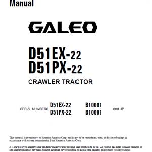 Komatsu Galeo D51ex-22, D51px-22 Dozer Service Manual