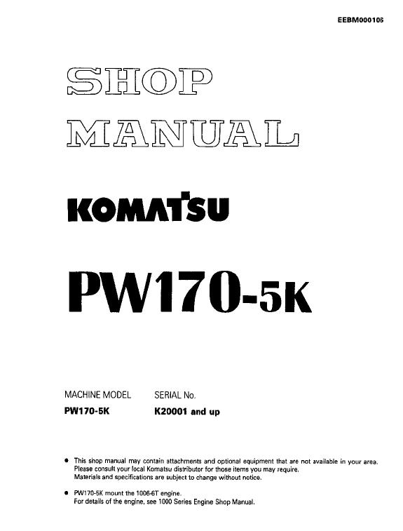 Komatsu Pw170-5 Excavator Service Manual