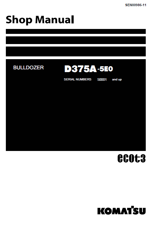 Komatsu D375a-5, D375a-5e0 Dozer Service Manual