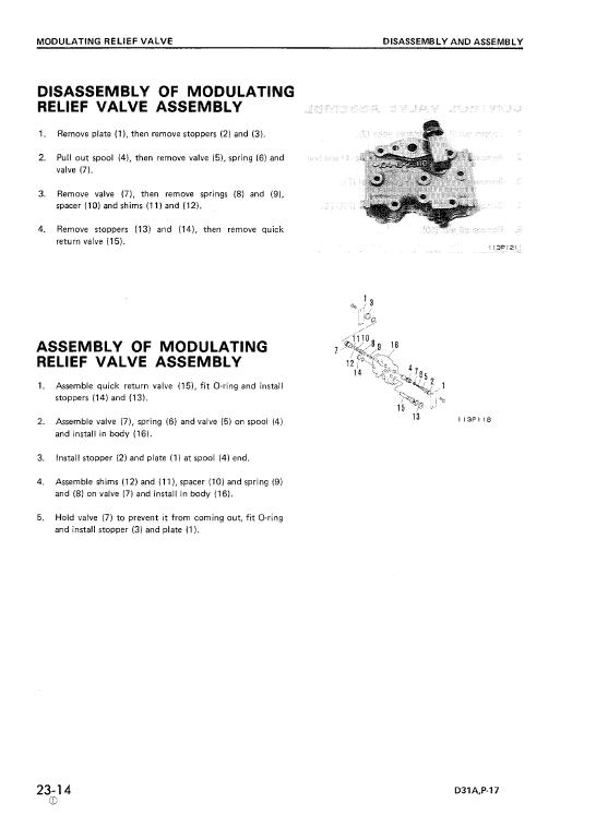 Komatsu D31a-17, D31e-17, D31p-17 Dozer Service Manual