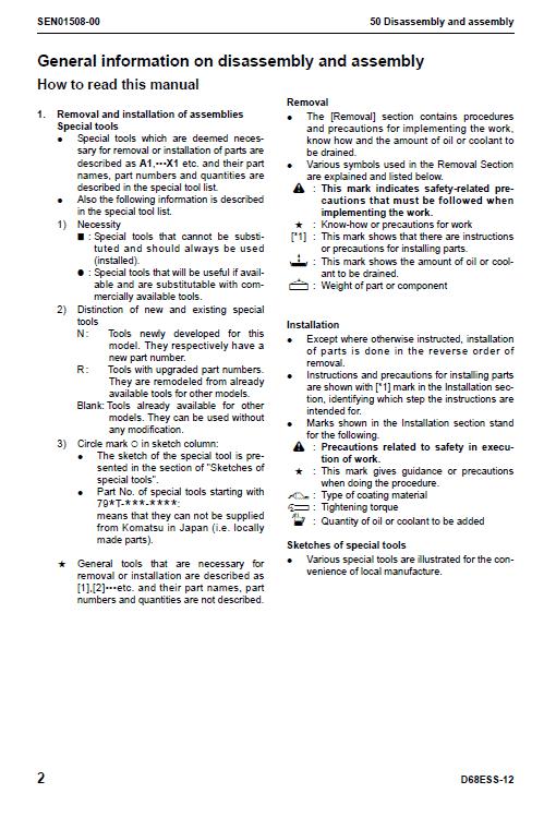 Komatsu D68ess-12 Dozer Service Manual