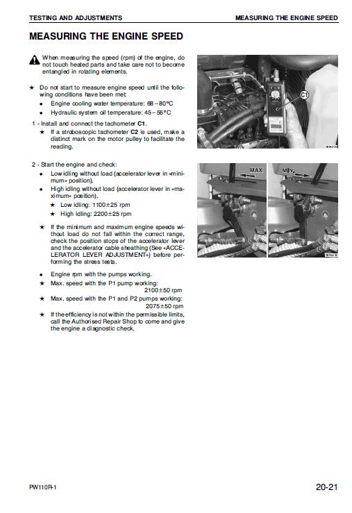 Komatsu Pw110r-1 Excavator Service Manual