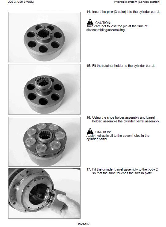 Kubota U20-3, U25-3 Excavator Workshop Manual
