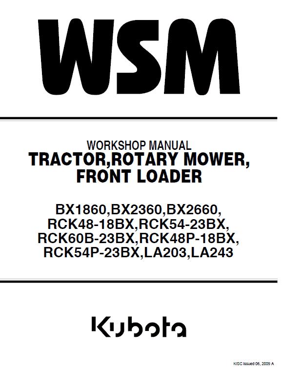 Kubota Bx1860, Bx2360, Bx2660, La203, La243 Tractor Loader Manual