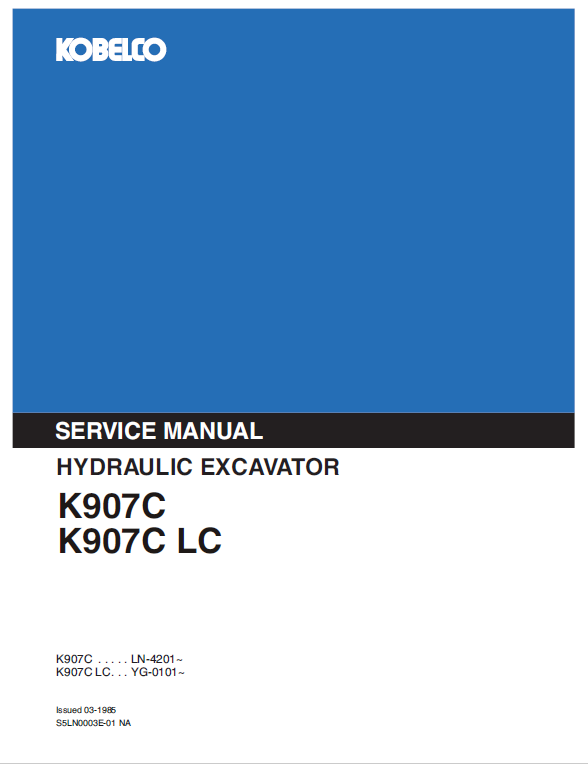 Kobelco K907c And K907c-lc Excavator Service Manual