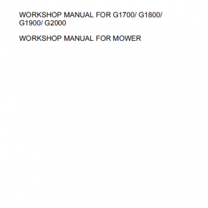 Kubota G1700, G1800, G1900, G2000 Lawn Mower Workshop Manual