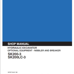 Kobelco Sk200-3, Sk200lc-3 Excavator Service Manual