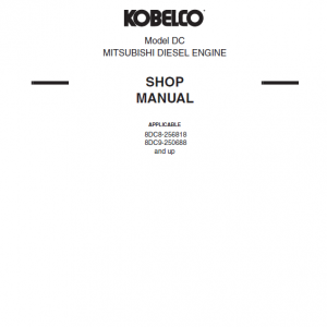 Mitsubishi 8dc8, 8dc9, 8dc9-t Engine Workshop Service Manual