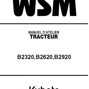Kubota B2320, B2620, B2920 Tractor Workshop Service Manual