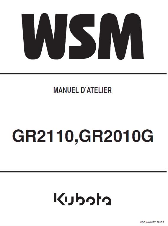 Kubota Gr2110, Gr2010g Lawn Mower Workshop Manual