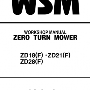 Kubota Z18, Zd21, Zd28 Mower Workshop Service Manual