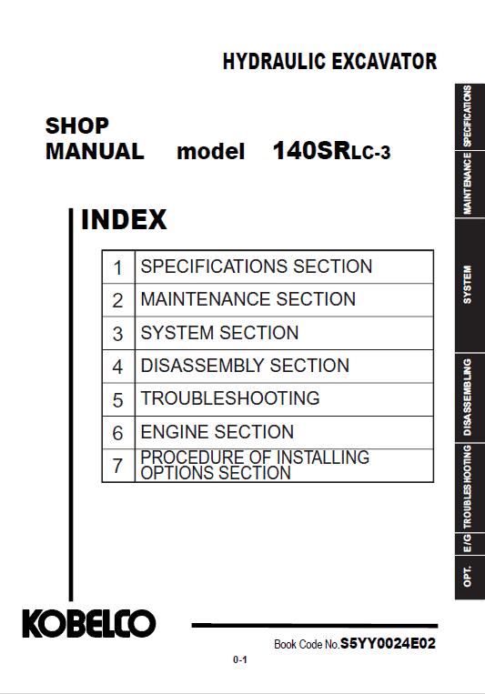 Kobelco 140srlc-3 Excavator Service Manual