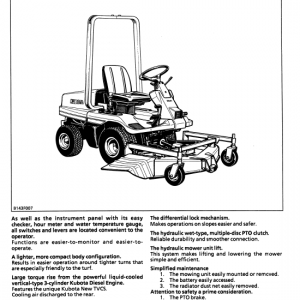 Kubota Gf1800, Gf1800e Lawn Mower Workshop Service Manual