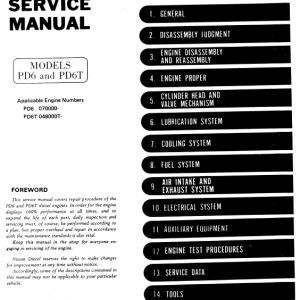 Nissan Pd6, Pd6t Engine Workshop Service Manual