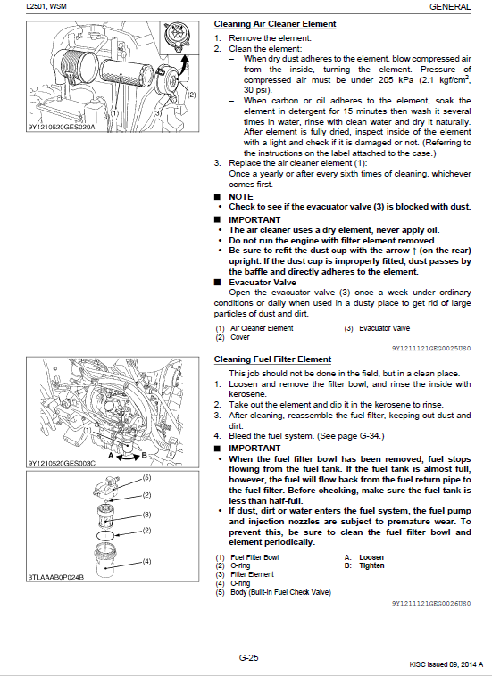 Kubota L2501 Tractor Workshop Service Manual