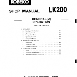 Kobelco Lk200 Wheel Loader Service Manual