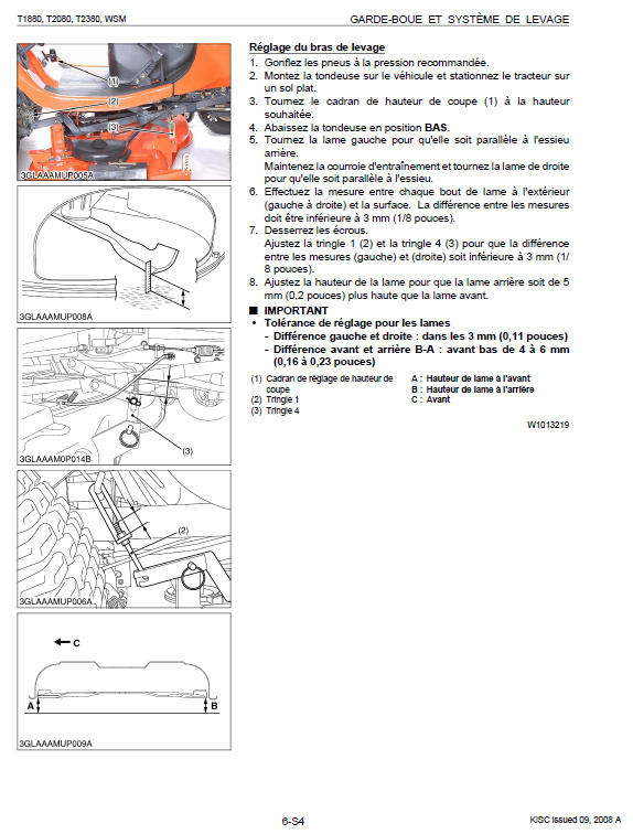 Kubota T1880, T2080, T2380 Tractor Mower Workshop Manual