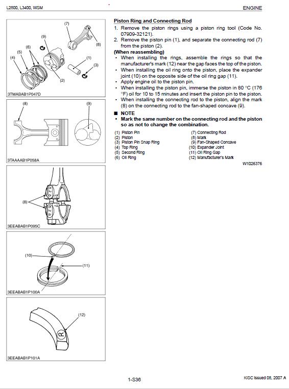 Kubota L2800, L3400 Tractor Workshop Service Manual
