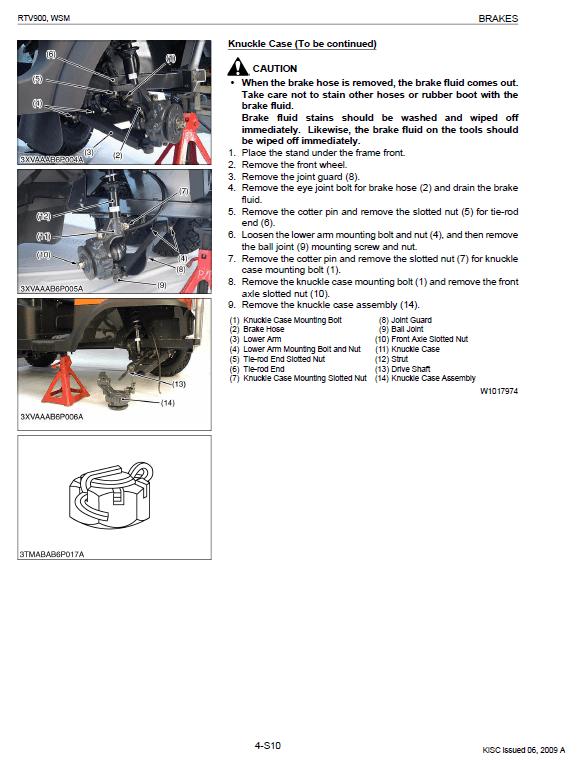 Kubota Rtv900 Utility Vehicle Workshop Service Manual