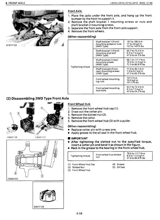 Kubota L3010, L3410, L3710, L4310, L4610 Tractor Workshop Manual