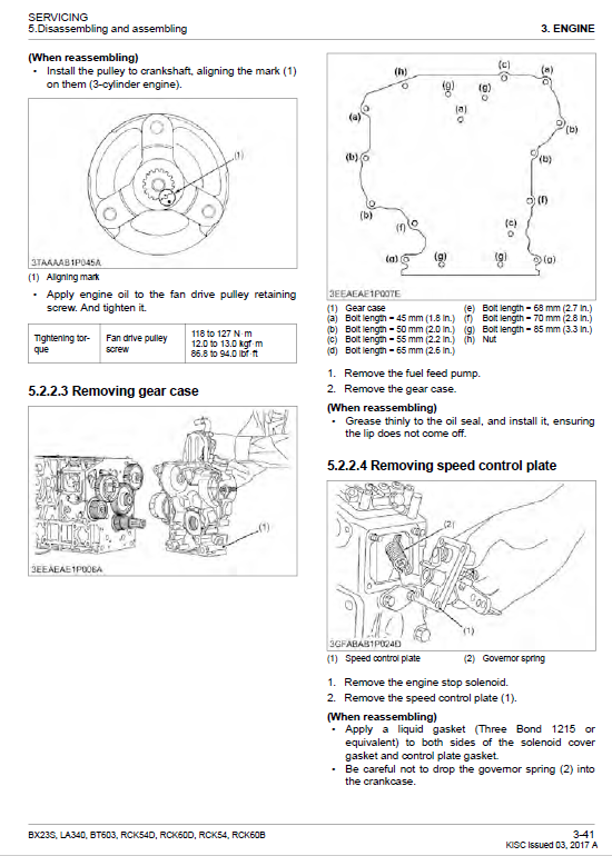 Kubota Bx23s, La340, Bt603 Tractor Loader Workshop Manual