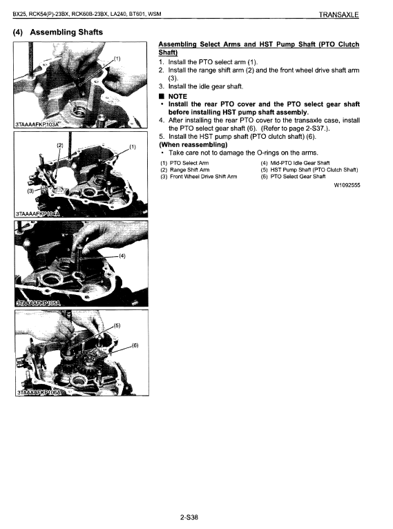 Kubota Bx25, La240, Bt601 Tractor Loader Workshop Manual
