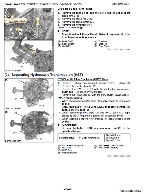 Kubota F2690, F2690e, F3990 Front Mower Workshop Manual