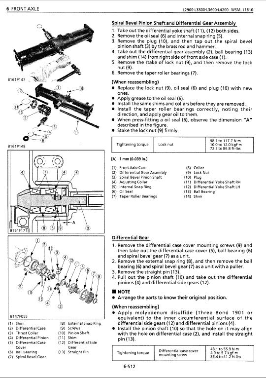 Kubota L2900, L3300, L3600, L4200 Tractor Workshop Manual