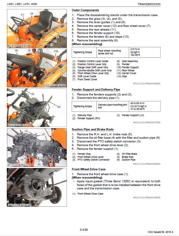 Kubota L3301, L3901, L4701 Tractor Workshop Service Manual